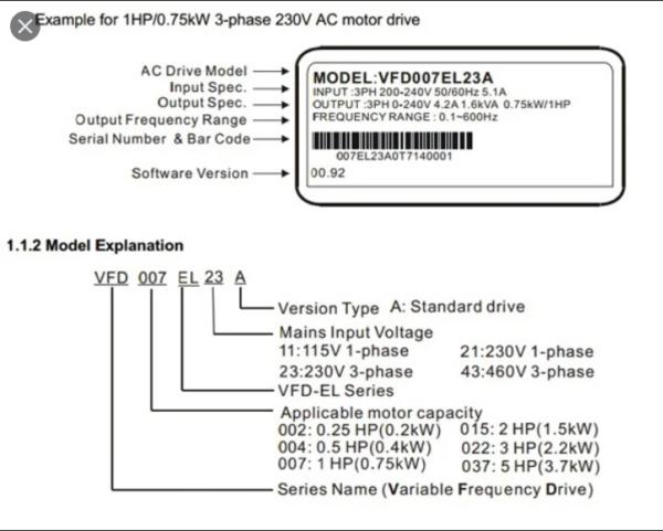 Delta EL Series 3Phase VFD